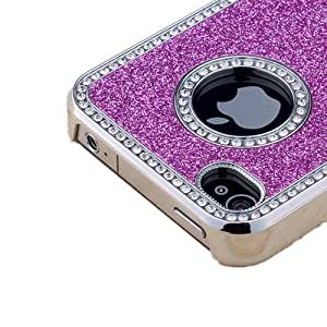Purple Luxury Bling Glitter Diamond Rhinestone Protective Case For iPhone 4 4S