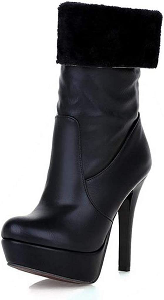 Womens Thick Fur Winter Boots Thin Super High Heel Thick Platform Slip On Mid Calf Booties