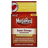 MegaRed Super Omega 3 Krill Oil-High Absorption 100% Pure Antarctic Krill Oil-600mg EPA/DHA-Optimal Combination of Omega 3 Fatty Acids-40 Softgels