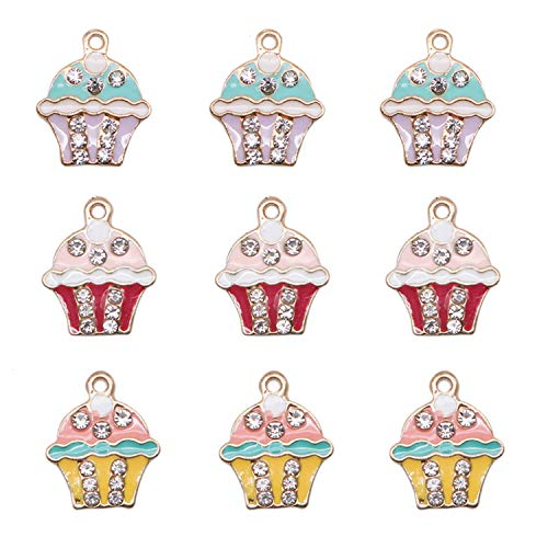 Enamel Cupcake - JETEHO 9Pcs Crystal Cupcake Charms Cupcake Enamel Charms Pendants for Jewelry Making Bracelet Necklaces