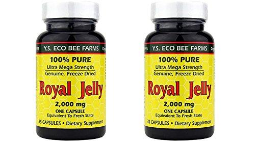 Ys Organic Royal Jelly - YS Organics Ultra Mega-Strength Royal Jelly, 2000mg - 35 Caps -2 Pack