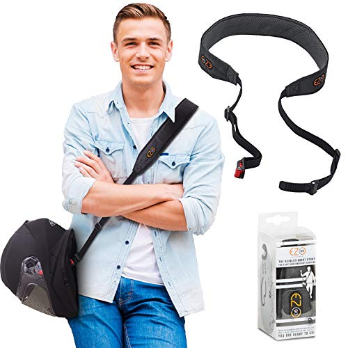 Motorcycle Helmet Carrier Strap - Hands-Free, Motorbike Accessory. Convenient, Lightweight and Comfortable Alternative to Helmet Bag or Backpack. A Perfect Biker Gift For Men and Women. Black By EZ-GO