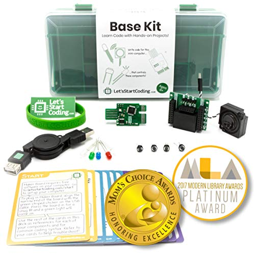Base Coding and Electronic Circuit Kit for Kids 8,9,10,11,12 to Learn Real Code and Circuitry - Over 50 Free Online Project Guides Teach S.T.E.A.M. Skills