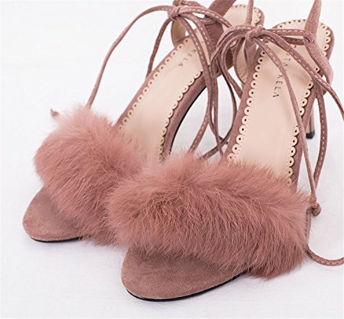 Rabbit Korean High 8 2018 Open heeled OL Dress Style Women's Fashion Fur Bandages Strap Toe Ball Sandals pink High Embellished Sandal wECnqf7C