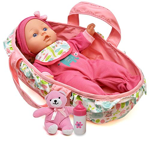 Sweet Baby Sets (Baby Doll Feeding Set, 12 Inch Soft Body Baby Doll with Carrier Bassinet Bed and Pillow, Includes Play Doll, Realistic Bottle, Bib and Teddy Bear)