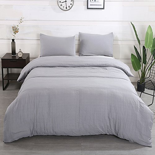 Light Grey Duvet Cover Set with Zipper Closure-Full/Queen (90