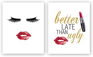 Sanrx Fashion Typography Art Print Painting, Women Face Lipstick Watercolor Cardstock Art Poster Inspirational Quote Fashion Women Prints Wall Art Decor (Set of 2, 8'' x 10'',Unframed)