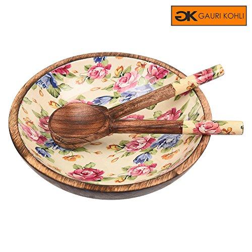 GAURI KOHLI : Japanese Spring Blossom Solid Wood Salad Bowl With Servers (Size Medium) by GAURI KOHLI