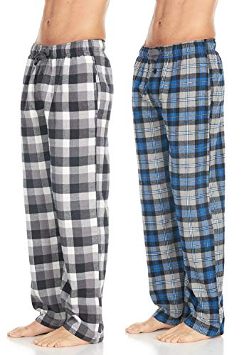 Men's Cotton Super-Soft Flannel Plaid Pajama Pants/Lounge Bottoms with Pockets, Grey White/Grey Blue, X-Large