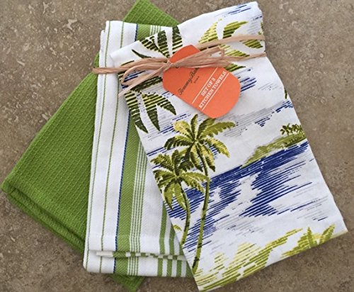 Tommy Bahama Pack of 3 Kitchen Tea Towels/Bar Towels - Island Retreat Palm Trees