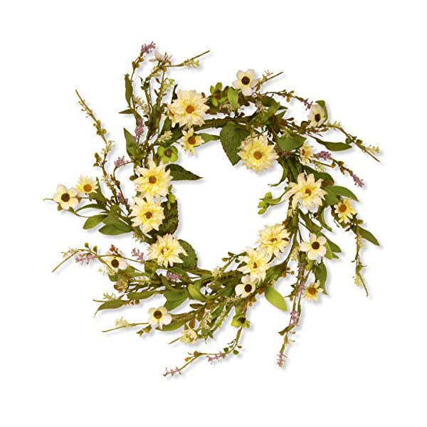 National Tree 20 Inch Floral Wreath with Yellow Daisy Flowers (GAF30-20WDY)