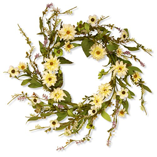 National Tree 20 Inch Floral Wreath with Yellow