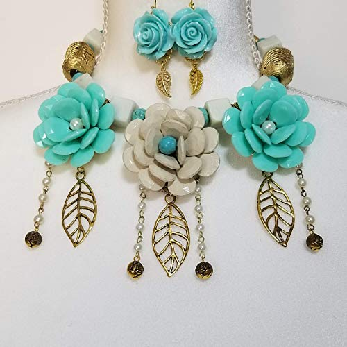 Floral Necklace Earrings Gemstone Jade Turquoise African Beads 3 Betsey Johnson Flowers Bracelet One of a Kind