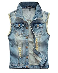 Zicac Men\'s Top Designed Denim Vest Waistcoat with Broken Holes (US:M(Asia Tag 3XL), Light Blue)