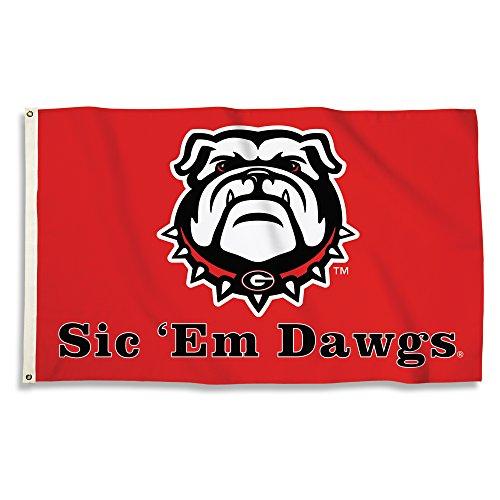 - BSI NCAA Georgia Bulldogs Flag with Grommets, 3' x 5', Red
