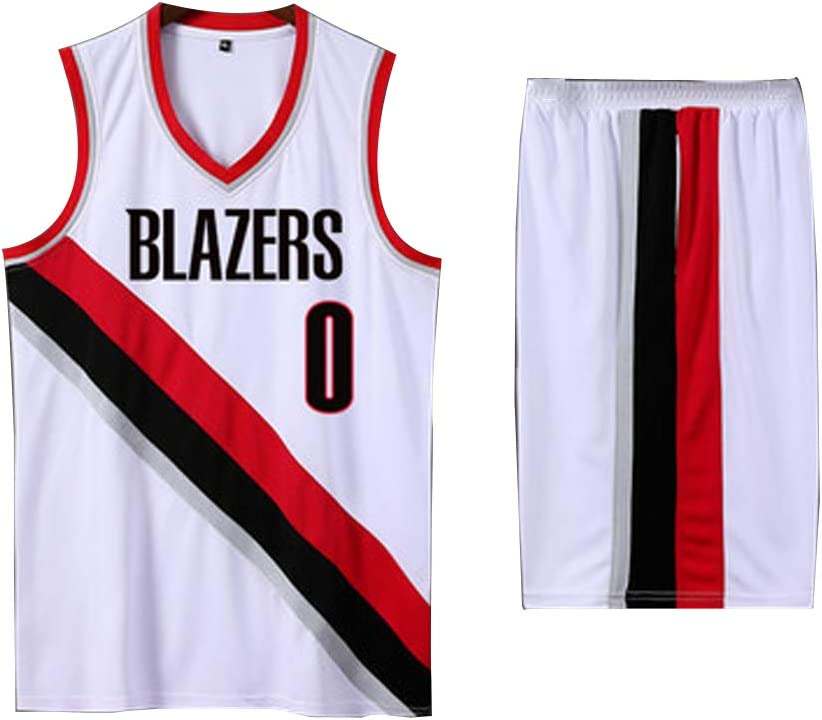 Basketball Top for Men and Boys 0# Damian Lillard Basketball Jersey Portland Trail Blazers Male Basketball Clothing Short Sleeve Officially Licensed Team XS-XXXL