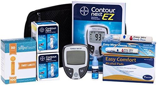 Contour Next Testing Kit - Contour Next Meter, 100 Bayer Contour Next Test Strips, 100 30gauge Lancets, 1 Lancing Device, 100 Alcohol Prep Pad (Bayer Test Strips)