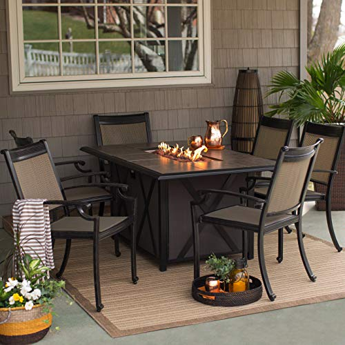 Patio Dining Set. Outdoor, Modern Classic Furniture Kit Of Aluminum, Tile For Porch, Lawn, Pool, Garden, Conversation, 6 Person. Outside Rectangular Fire Pit Table, Stack, Sling Chairs (Black/ Bronze)