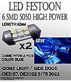 2pcs 42mm 560 578 LED Car doom Light Bulbs 6-SMD Car Lamp Festoon Blue Bulbs #2