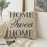MIULEE Home Sweet Home Cotton Linen Decorative Throw Pillow Case Cushion Cover Pillowcase for Sofa Bed Car 18 x 18 Inch 45 x 45 cm