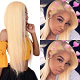 Fyonas Straight Hair 613 Blonde Lace Front Wigs Heat Resistant Synthetic Fiber Half Hand Tied Full Wig for Women (22 inch, 613 Color)