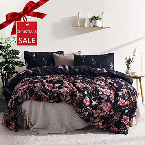 Leadtimes Kids Flower Duvet Cover Set, Girls Floral Leaf Black Bedding Set with Soft Lightweight Microfiber 1 Duvet Cover and 1 Pillow Sham (Twin, Style8) -