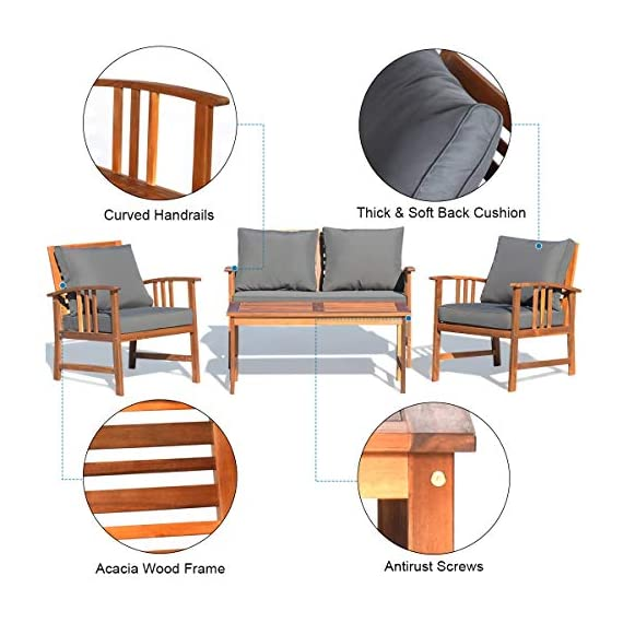 Tangkula 4 PCS Wood Patio Furniture Set, Outdoor Seating Chat Set with Gray Cushions & Back Pillow, Outdoor Conversation Set with Coffee Table, Ideal for Garden, Backyard, Poolside (Wood) - ☀️ Sturdy & Durable Frame☀️ : The frame of set is made of premium acacia wood which ensures the sturdiness and durability. And the set is not easy to deform and crack so that the set will provide long time service. With no peculiar smell and clear varnish on the wood, the frame is waterproof and the beauty can be kept for long time. ☀️ Ergonomic Design of Sofa ☀️ : Designed with slightly sloping backrest and curved handrails, the single chair and loveseat is very comfortable for relaxing yourself. With thick and soft cushions, it will also add comfort. And the seat cushions can be fixed on the slat of chair with strings. You don't need to worry about moving of cushion. ☀️ Multipurpose 4-piece Furniture☀️ : Our furniture set which includes 4 pieces can be combined in various ways or be used separately according to your different needs. You can enjoy good time with your family to drink, eat or chat. The set is ideal for your garden, patio, balcony, poolside and backyard to be a perfect décor. - patio-furniture, patio, conversation-sets - 51IPaa9GxOL. SS570  -