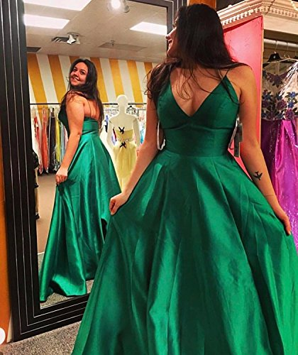 Dresses Pockets Spaghetti BS037 with Short Prom Bonnie A Party Long 2018 Dress Elegant Evening Style Straps Shop Women's Black Satin ZwqpI
