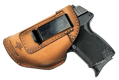 Relentless Tactical The Defender Leather IWB Holster - Made in USA - Fits Glock 42 | Ruger LC9, LC9s | Kahr CM9, MK9, P9 | Kel-Tec PF9, PF11 | Kimber Solo Carry - Charred Oak Left Handed