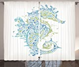 Cheap Ambesonne Animal Decor Curtains, Greek Art Textured Ancient Seahorse Idol of Spiritual Life Cycle Artwork, Living Room Bedroom Window Drapes 2 Panel Set, 108 W X 84 L Inches, Light Blue Green
