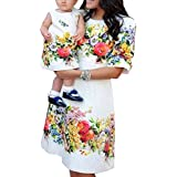 OMZIN Family Matching Mom Girls Flower Floral Dress Clothing Sets Mom White XL