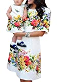 OMZIN Mommy and Daughter Outfits Summer Casual Dress for Girl White 2-3 Years