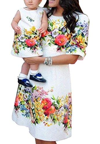 OMZIN Mommy and Daughter Outfits Summer Casual Dress for Girl White 2-3 Years by OMZIN
