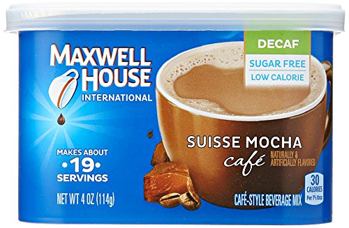 Maxwell House International Coffee Decaf Sugar Free Suisse Mocha Cafe, 4 Ounce