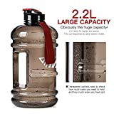2.2L Large Reusable Water Bottles Half Gallon Water Jug Dishwasher Safe/Ecofriendly/Tritan BPA Free Plastic/Leakproof/Odorless/Wide Mouth Drinking Gym Water Jug for Men Women Fitness Outdoor Gym