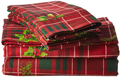 (Tribeca Living VIPL230DPSSTW Vintage Plaid Printed 230-GSM Flannel Twill 24 inch Extra Deep Pocket Sheet Set with Oversize Flat, Twin,)