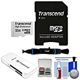 Transcend 32GB High Endurance microSDHC Class 10 Memory Card with Adapter with USB 3.0 Card Reader + Cleaning Kit