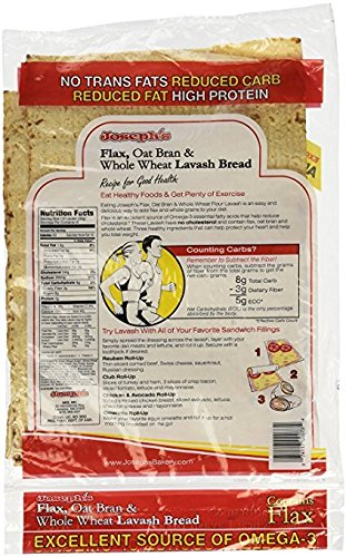 2 Pack Value: Joseph's Lavash Bread Flax Oat Bran & Whole Wheat Reduced Carb, 8 Squares by Joseph's Bakery
