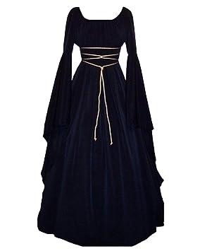 GladiolusA Disfraz Medieval De Mujer Vestido Largo Traje Medieval Cosplay Manga Larga Vino Rojo S