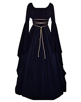 GladiolusA Disfraz Medieval De Mujer Vestido Largo Traje Medieval Cosplay Manga Larga Navy S