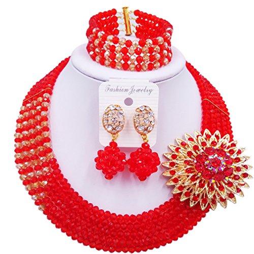 aczuv African Wedding Jewelry Set Nigerian Beads Necklace Bridal Jewelry Sets