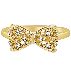 Gold Plated Clear White Crystal Bow Girl Toddler Children's Ring