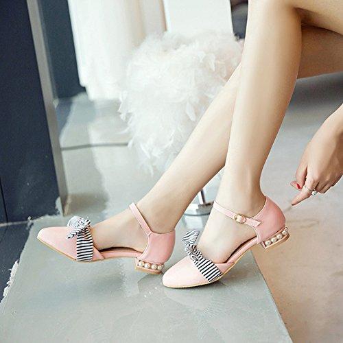 Geschlossen Schnalle Aisun mit Sandale Schleife Rosa Perlen Blockabsatz Damen Streifen 5w8wBxS6