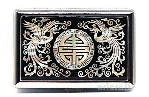 (Ari Crafts Mother of Pearl Metal Cigarette Case, King Size Nacre Smoke Tobacco Card Holder, Mother of Pearl Box, Nacre Storage Wallet, Cigarette Holder, Cigarette Box Accessories, Phoenix)