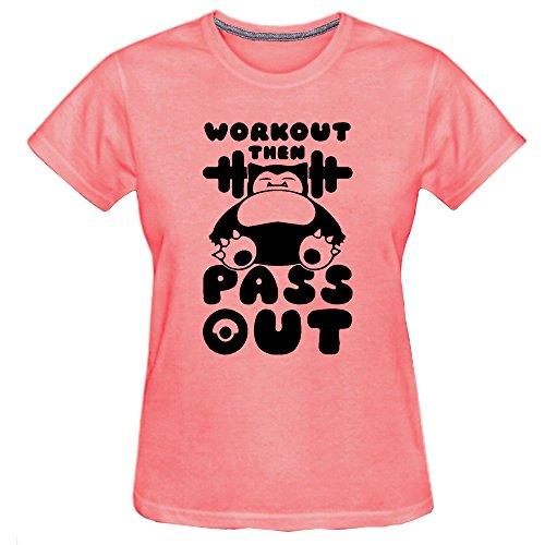 Conquershop Women's Bear Workout Then Pass Out Lovely T-shirt (Pink Medium)