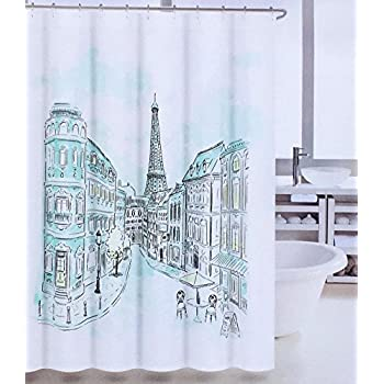 Amazing Tahari Paris Street In Color Fabric Shower Curtain With Eiffel Tower, Blue,  Green,