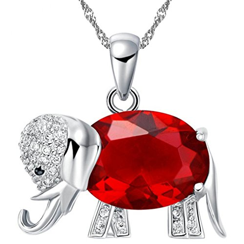 Uloveido Red Crystal African Wild Life Lovely Elephant Pendant Lucky Animal Necklaces Jewelry for Ladies (Red) ()
