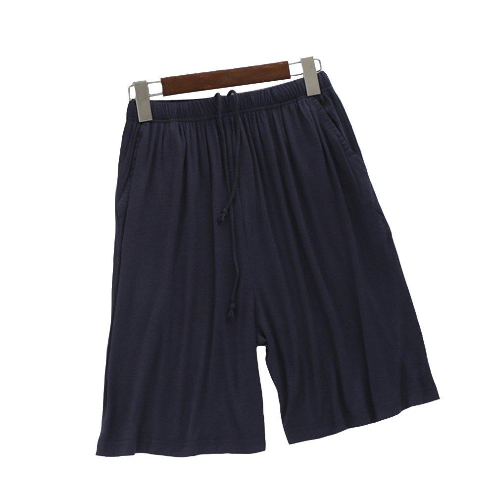 AHZZY Men's Pajama Short Pants, Loose Large Size Summer Thin Modal Beach Pants Breathable Sports Pants Lounge Sleepwear (Navy Blue)