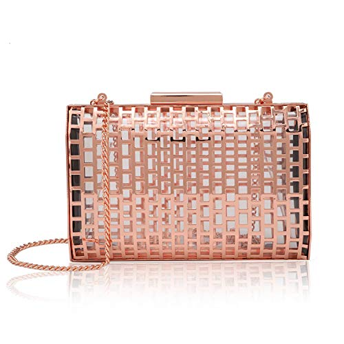 two the nines Womens Evening Bag Rose Gold Hollow Out Cage Purses Hardcase Clutches
