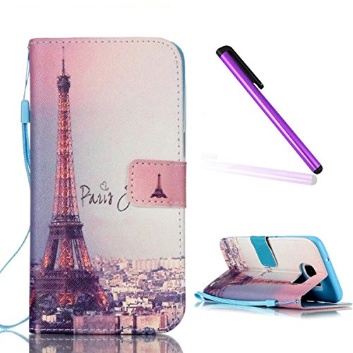 S7 Edge Case,Galaxy S7 Edge Wallet Case,EMAXELER Printed Fantastic Romantic Colorful Beautiful Commuter Magnetic PU Leather Flip Protective Cover with Stand for Samsung Galaxy S7 Edge–Eiffel Tower